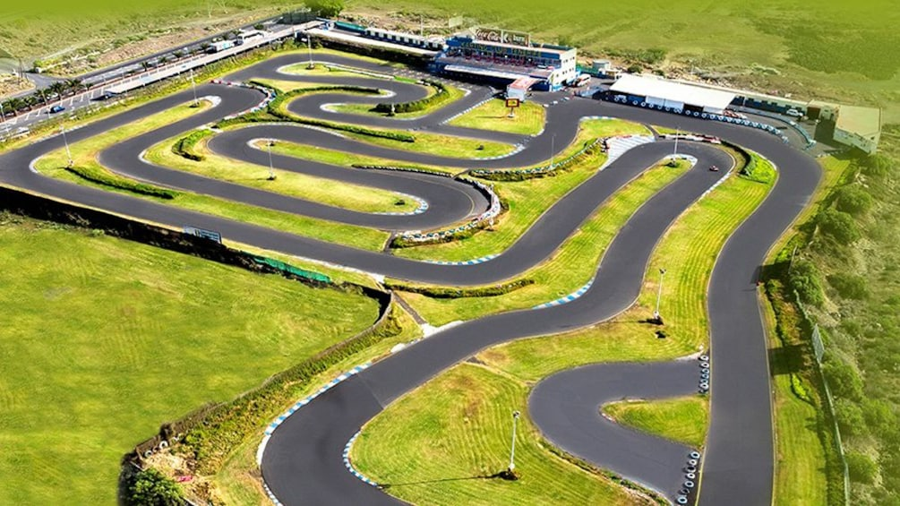 Show item 1 of 8. aerial view of karting track