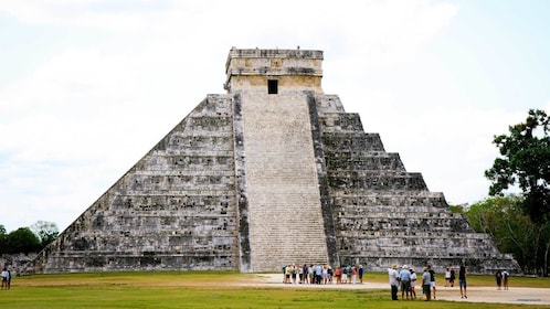 looking up the steps of a temple in Cancun