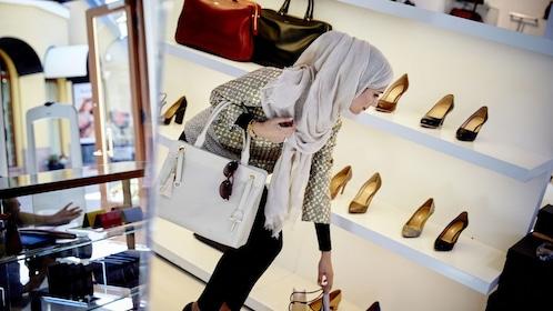 Woman shoe shopping in Frankfurt
