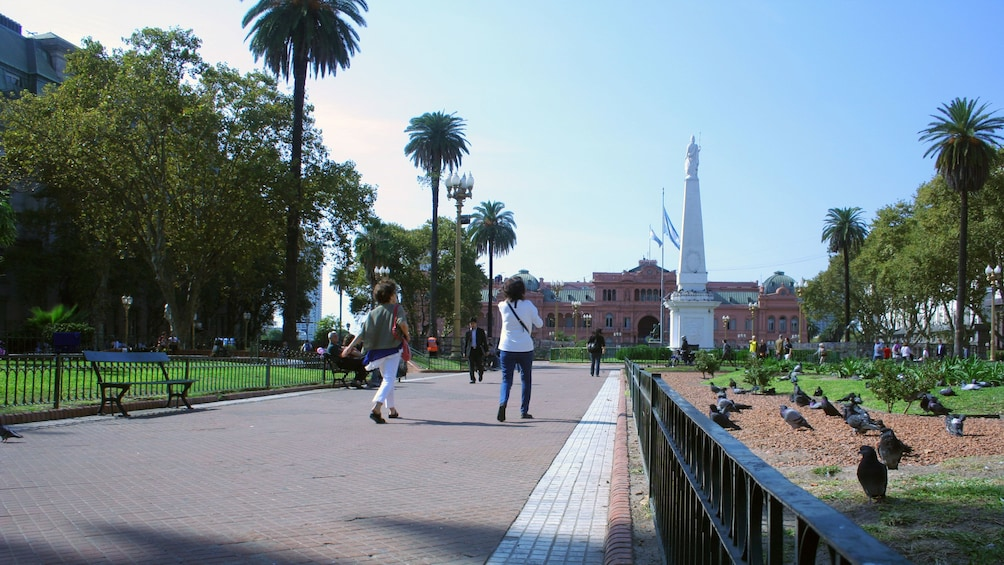 People walking through park in Buenos Aires