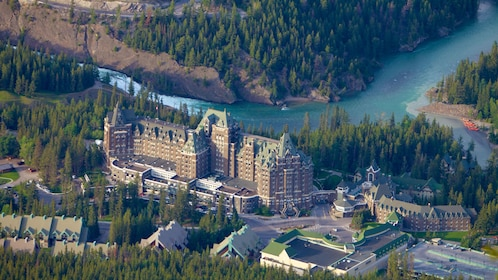 View from the Banff Gondola of a large hotel on the river
