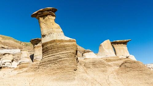 tall mushroom shaped rocks in Canada