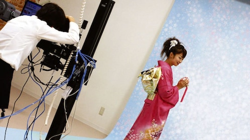 Woman in a kimono during a photoshoot in Nagoya