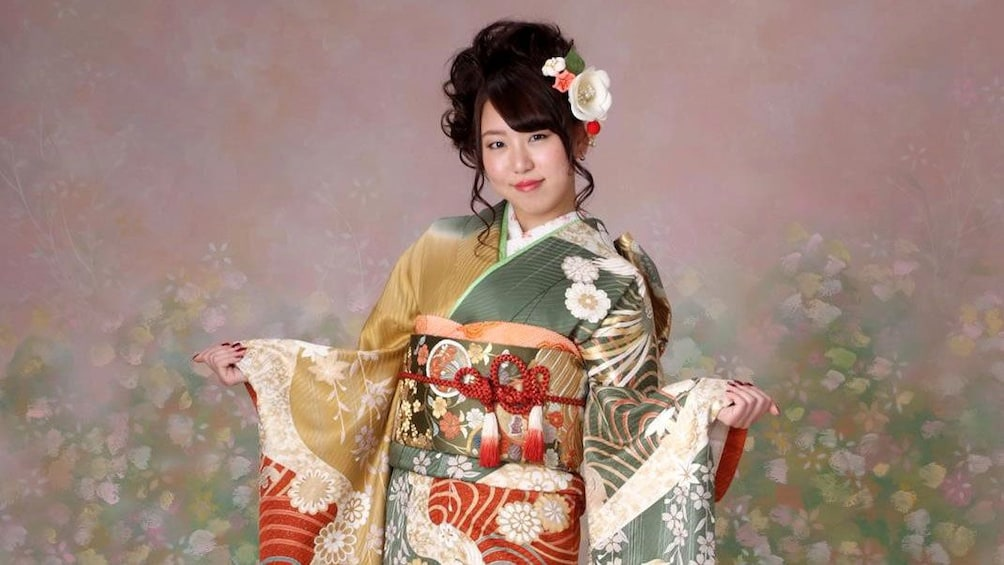 Show item 1 of 5. Woman wearing a kimono in a Nagoya studio