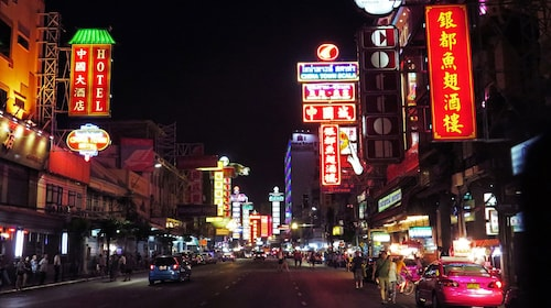 View of Chinatown street at night.