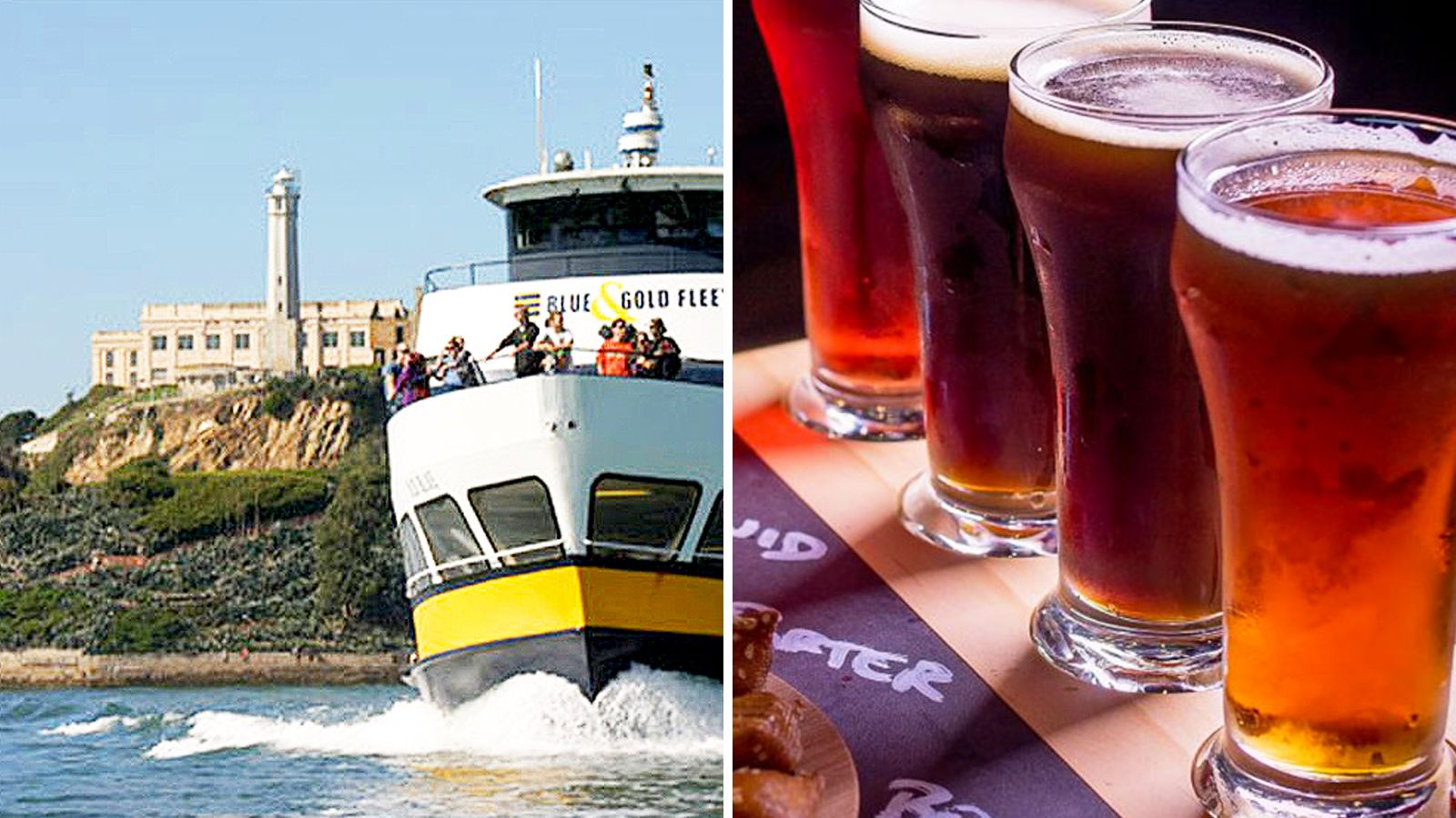 Combo image of Alcatraz visit & Craft beer walking tour in San Francisco