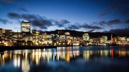 the city lit at night in Wellington