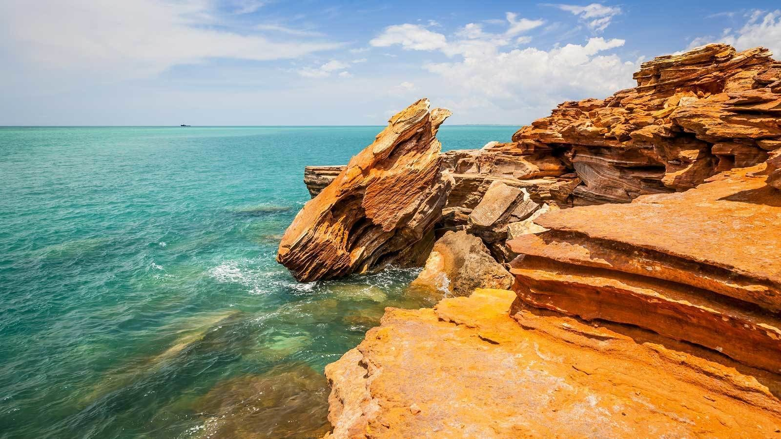 layered rocks at the beach in Broome Pearl