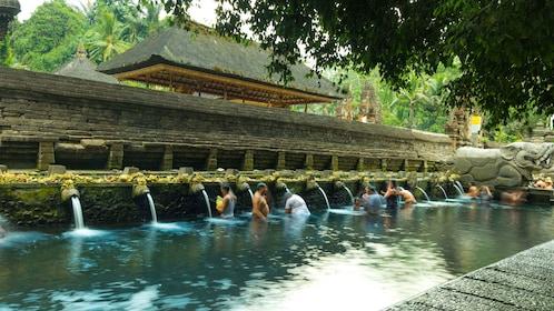 People bathing in a hot spring in Bali