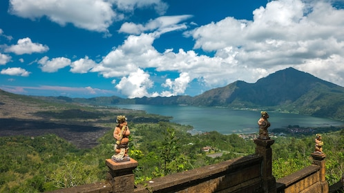 View of a lake and valley from a temple in Bali