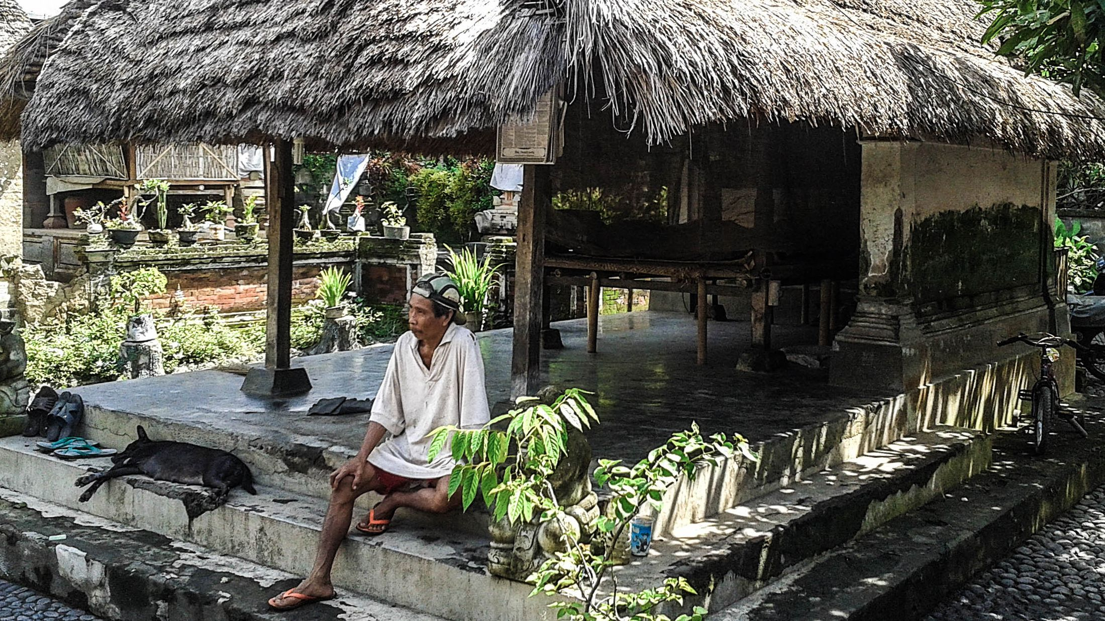 Bali traditional house with a man and dog out front