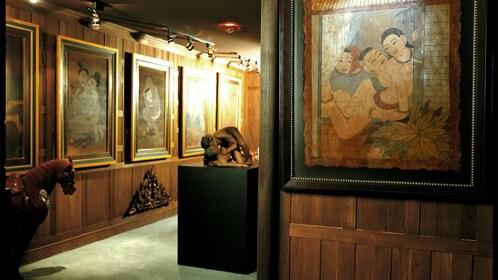 Historical paintings on wall at Kamavijitra Museum in Bangkok