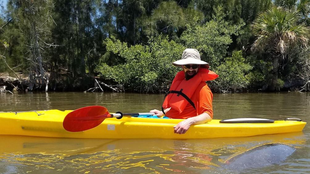 Foto 1 von 8 laden Man in kayak next to Manatee