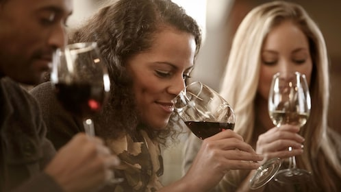 Group sniffing wine during a wine tasting
