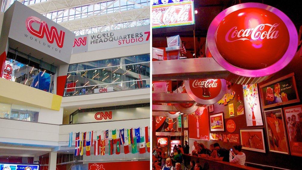Show item 1 of 7. Split image showing both CNN studio and the World of Coca-Cola in Atlanta