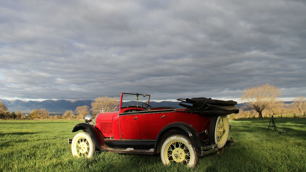 Show item 2 of 5. antique red car in field