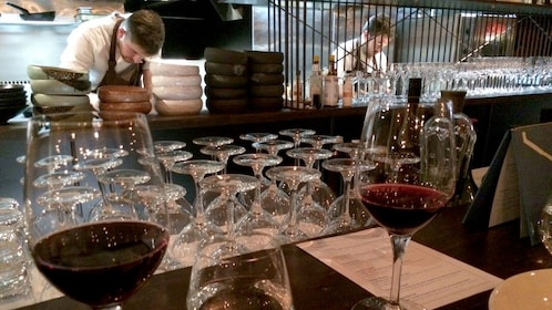 Glasses of wine at a restaurant in Auckland