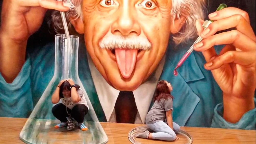 正在顯示第 4 張相片,共 4 張。 People posing with strange Einstein painting in Pattaya