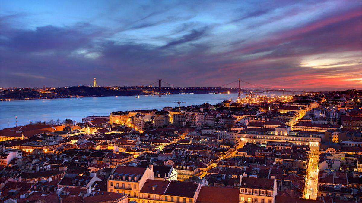 Night sunset view of Lisbon