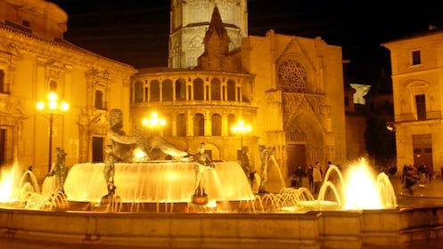 water fountain lit at night in Valencia