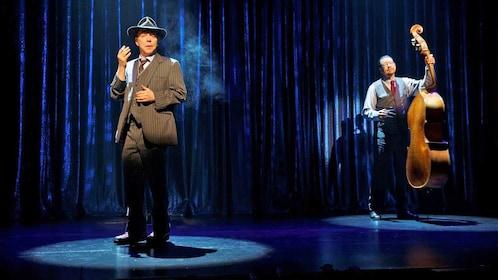 Penn and Teller dressed as jazz musicians in Las Vegas
