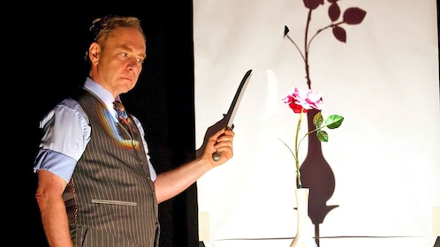 Teller with props on stage in Las Vegas