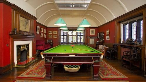 Pool table inside the Olveston Historic Home in Dunedin, New Zealand