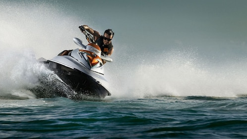 making a sharp turn with jet ski in Abu Dhabi