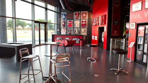 Cafe area in the National Sport Museum in Nice