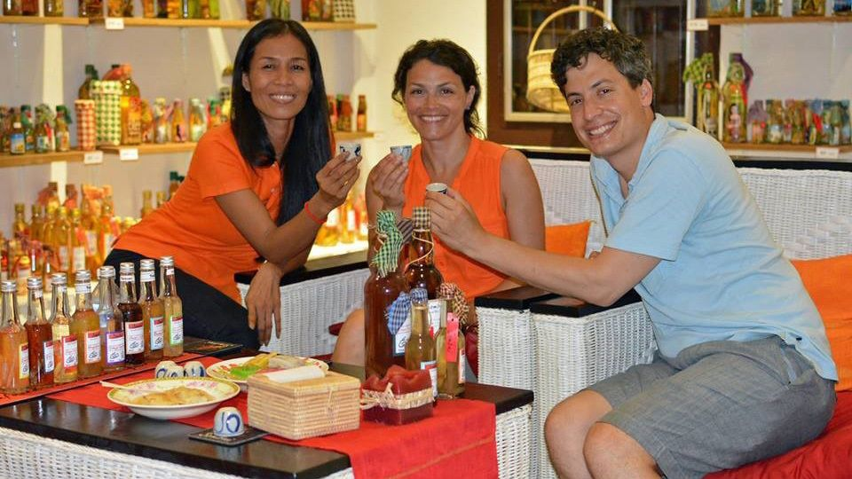 Trio trying drinks at Sombai Workshop in Siem Reap