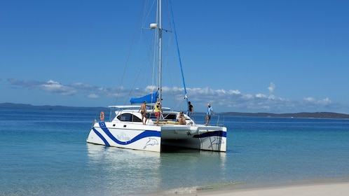 Group relaxing on a catamaran near the shore in Australia