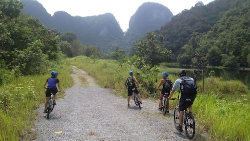 Group on the off road biking trip in Thailand