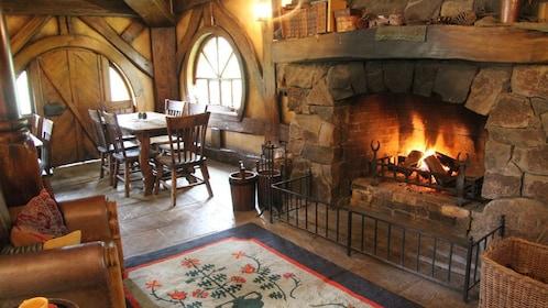 Living rom inside a Hobbit house in Hobbiton