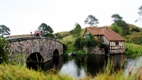 House and bridge on a lake in Hobbiton