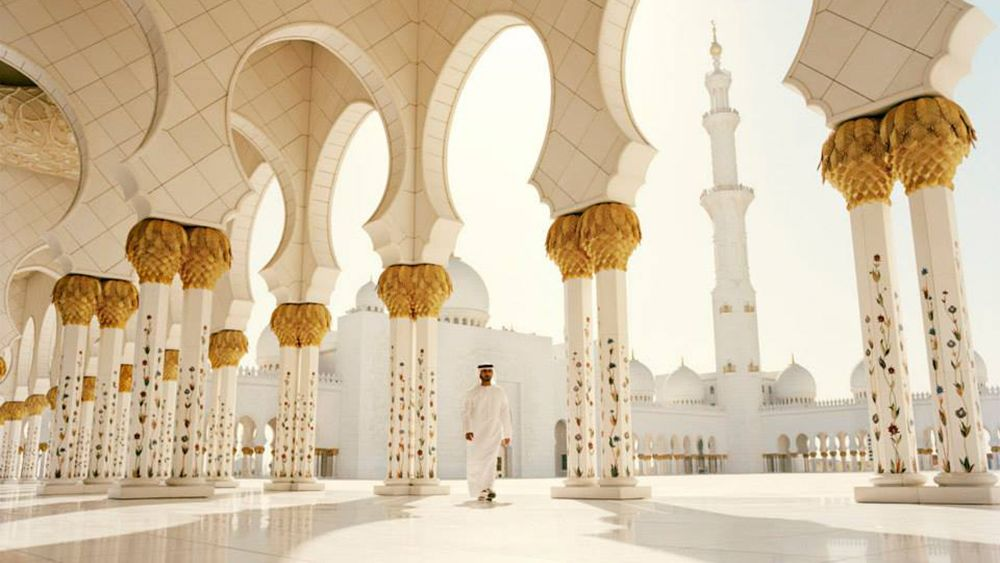 morning inside a mosque in Abu Dhabi