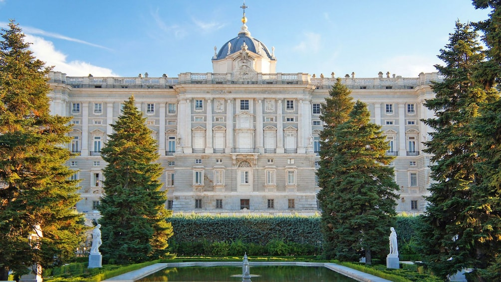 Show item 3 of 10. fountain pond outside a palace in Madrid