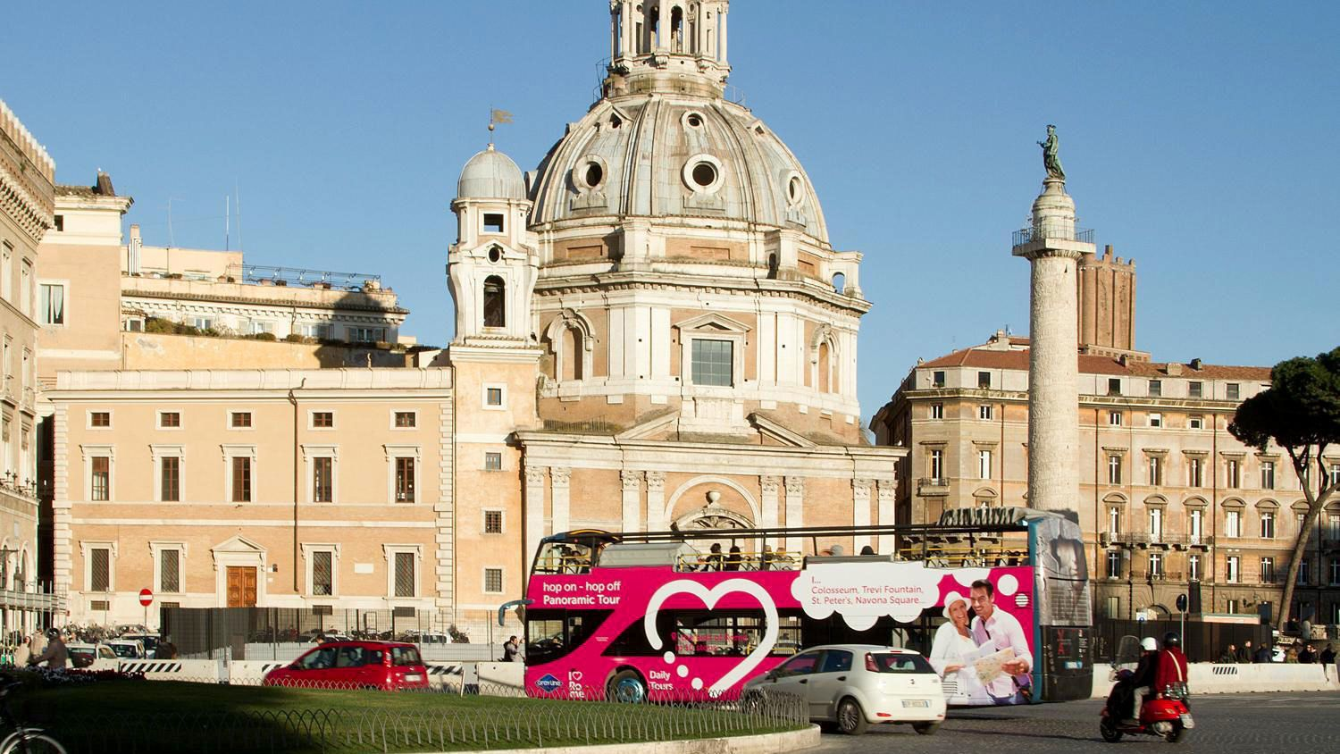 Tour bus outside a cathedral in Rome