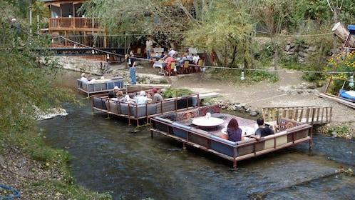 Outdoor restaurant in a river in Turkey