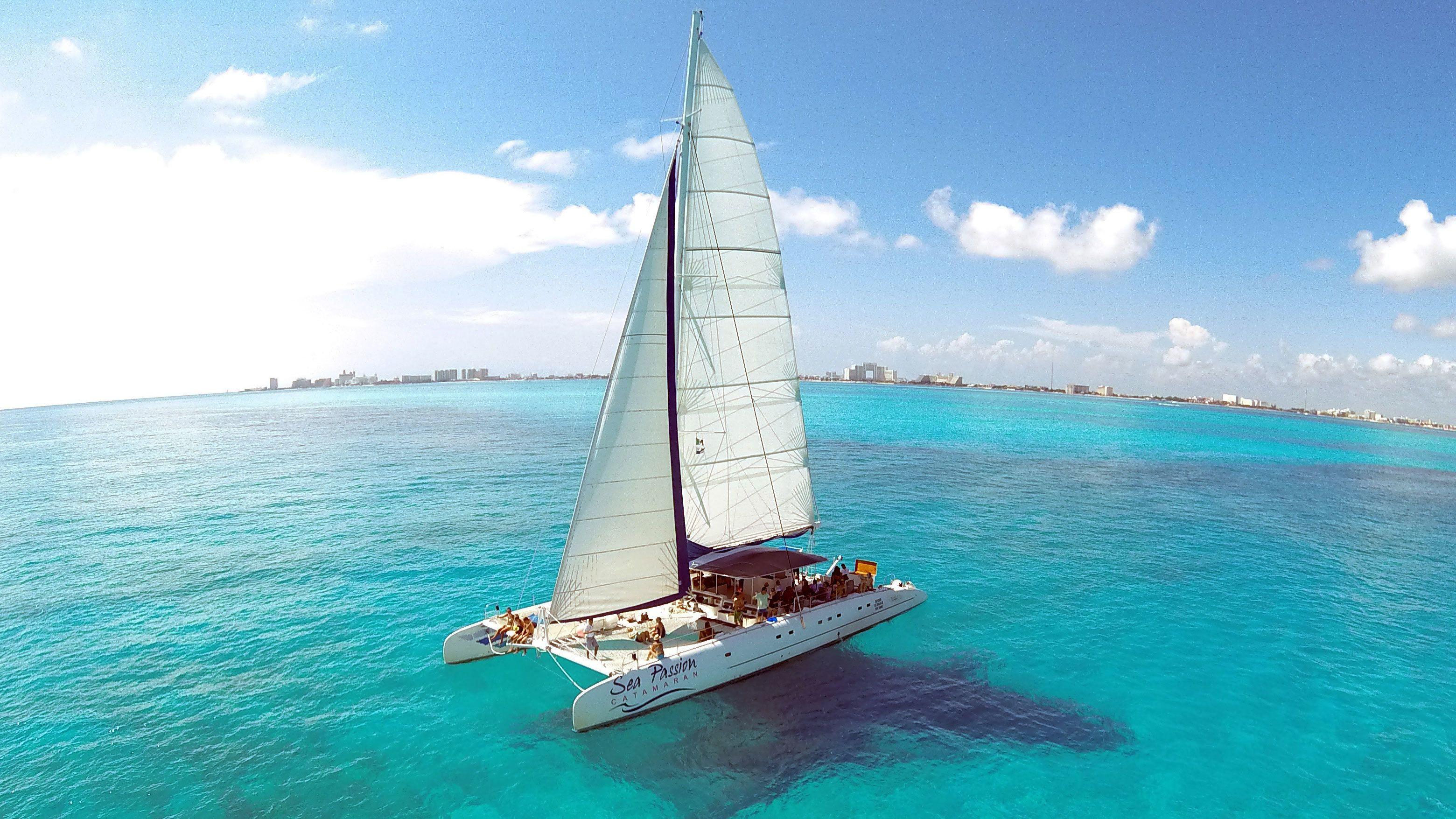 Catamaran on ocean