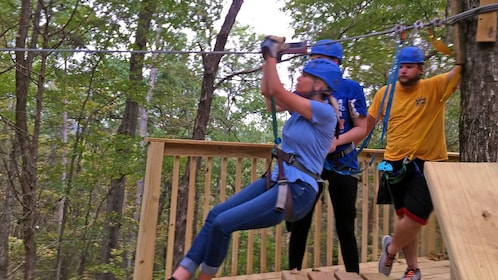 woman zip lining in Missouri