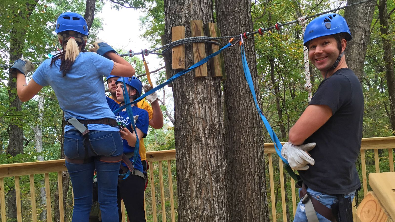 getting geared up for zip lining in Missouri
