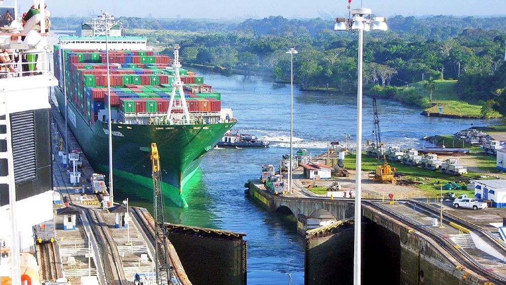 large cargo ship docked at the port in Panama