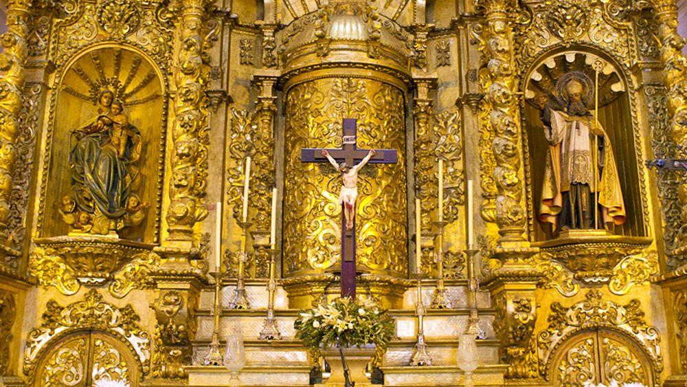 religious decor inside a church in Panama