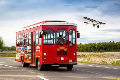 Anchorage Trolley to our left is a plane landing copy.jpg