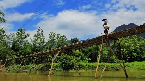 Pedestrian bridge in Laos