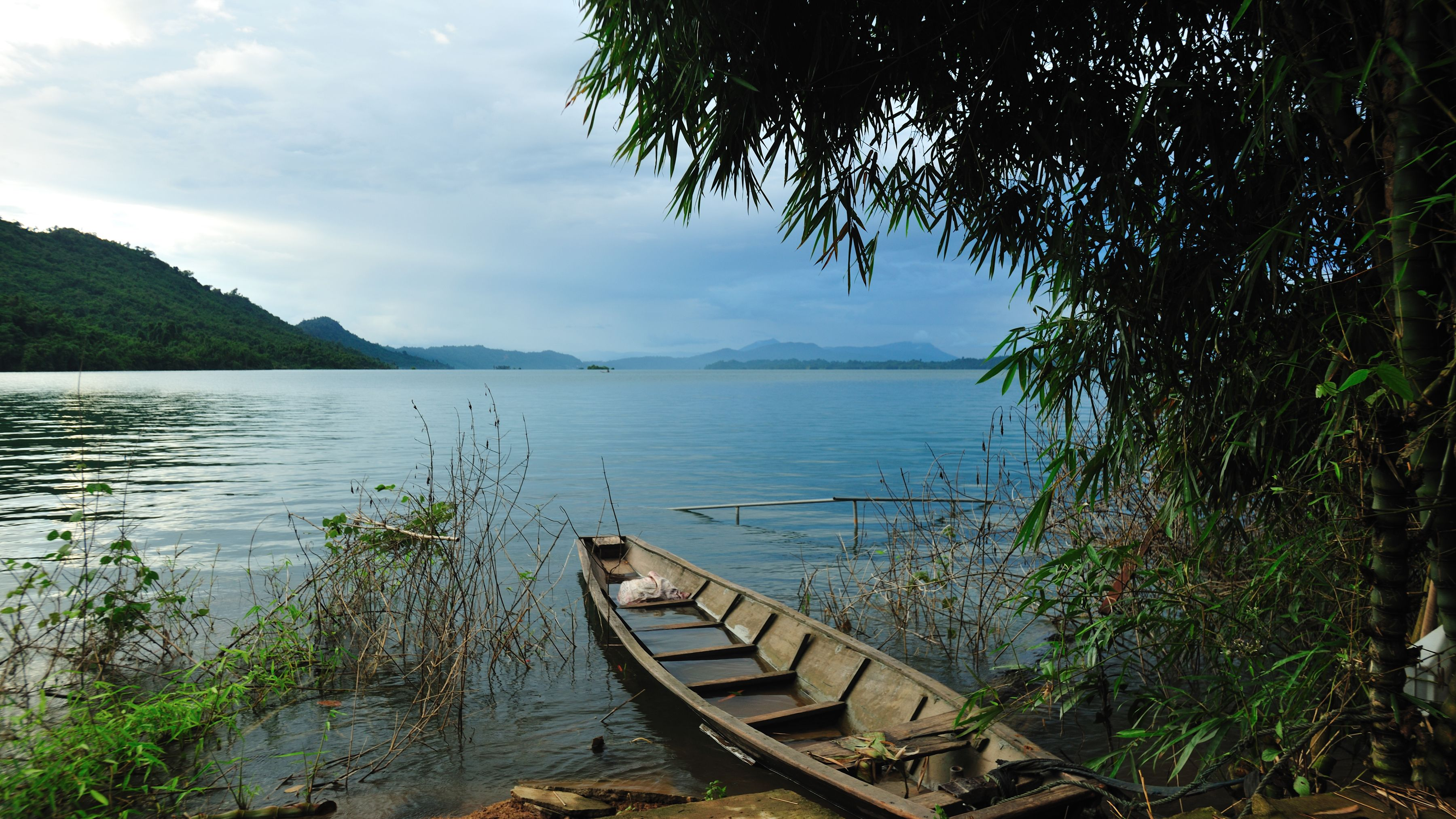 Boat on the shore of Laos river