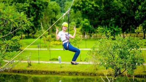 girl zip lining in Vietnam