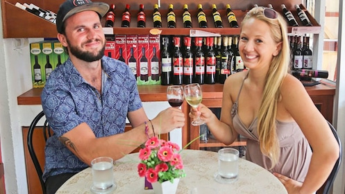 Couple on drink tasting tour