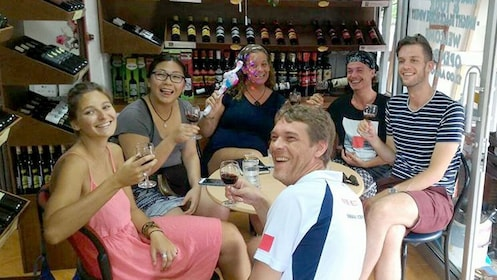 A group of friends drinking