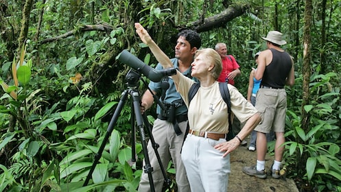 group with birdwatching equipment in Costa Rica